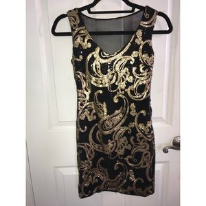 Black & gold sequin dress